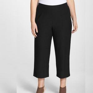 Eileen Fisher   BLACK WIDE LEG CROPPED PANT